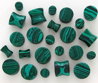 "Pair 8g-1/2"" Green Malachite Saddle Plugs Tunnels Organic Stone Natural Gauges"