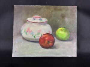 Sympathique-petite-peinture-huile-sur-toile-signee-nature-morte-fruits-table