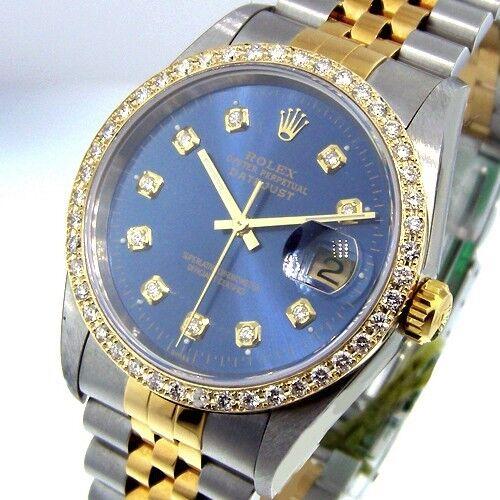 ROLEX DATEJUST STEEL GOLD TWO TONE JUBILEE BRACLET BLUE DIAMOND DIAL BEZEL