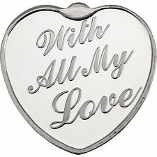 With All My Love 1oz .999 Fine Silver Round by SilverTowne (Red Pouch & Cap)