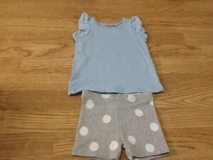1c2e11c0f596 Baby Girls Next Size 6-9 Months Blue Top   Grey White Spotty Shorts ...