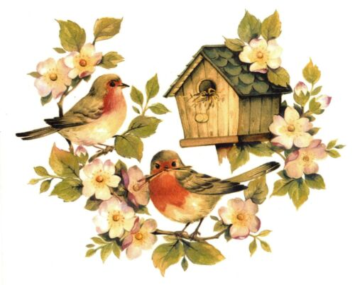 Rustic Birdhouse Birds Twig Flowers Select-A-Size Waterslide Ceramic Decals Bx