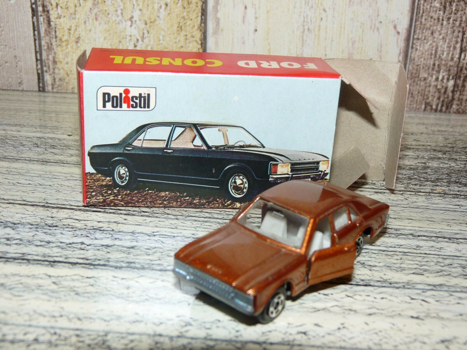Rare Polistil Brown Ford CONSUL RJ 17 Scale 1 64 Metal Toy Car 1970's+BOX
