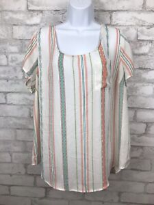 Torrid Boho Sheer Striped Button Up Back Blouse Top with Front Pocket Sz 1 14/16