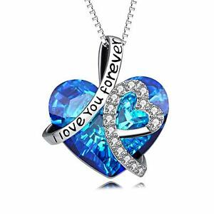 Women-Blue-Sapphire-White-Topaz-18K-White-Gold-Plated-Pendant-Chain-Necklace-18-034