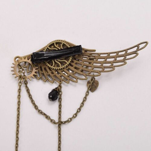 Girls Lolita Gear Wings Chain Tassels Hair Clip Steampunk Gothic Lady Headwear