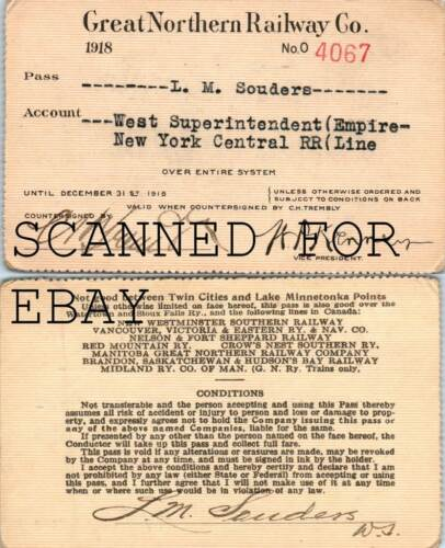 1918 Great Northern West Superintendent New York Central ORIGINAL RAILROAD PASS