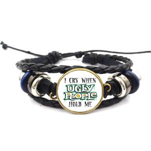 Je pleure quand Ugly People Verre Cabochon Bracelet Tressé Bracelet En Cuir Bracelets