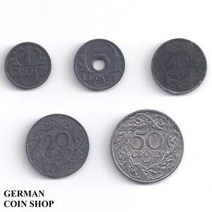 Generalgouvernement-Polen-Set-1-Grosz-5-10-20-50-Groszy-1923-1938-1939