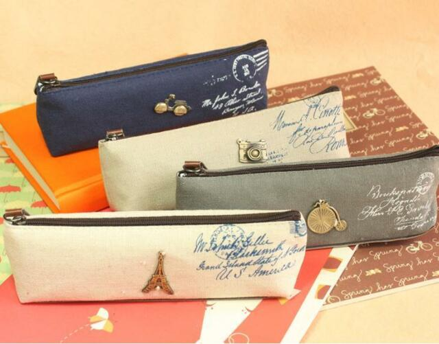 C218 classic restore ancient canvas students stationery pen bag pencil cases