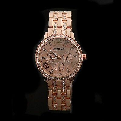 Crystal Bling Luxury Ladies Womens Stainless Steel Quartz Wrist Watch Analog