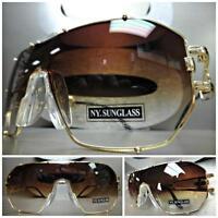 Huge Oversize Vintage Retro Shield Style Sun Glasses Large Gold Frame Brown Lens
