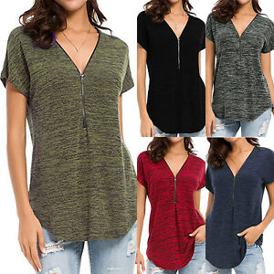 Women-V-Neck-Blouse-Tee-Shirt-Short-Sleeve-T-shirts-Casual-Zipper-Tops-Plus-Size