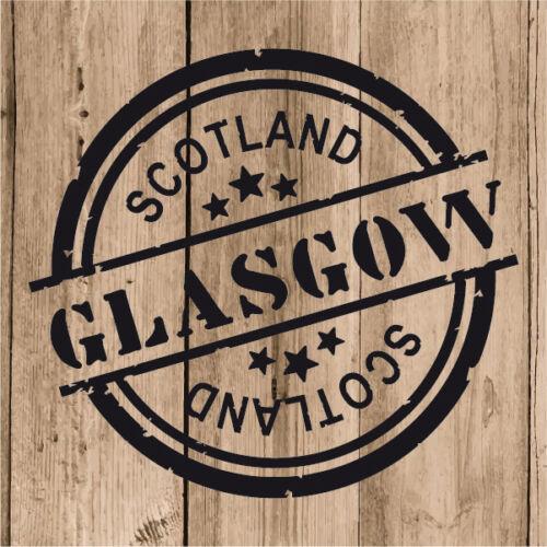 "4/"" Decal Stamp Glasgow Scotland Car Laptop Tablet Glasgow Sticker Vinyl 10 cm"