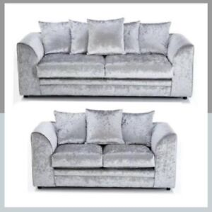 watch 4bce2 de1b3 Details about *SALE* ORIGINAL GLITZ CHICAGO CRUSHED VELVET SILVER CORNER  SOFA 32 SEATER SWIVEL