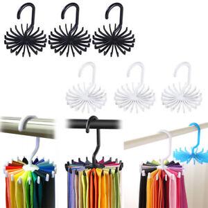 Round-Rotating-Rack-Hanger-Organizer-Twirling-Scarf-Belt-Tie-Hook-Holder-Ties
