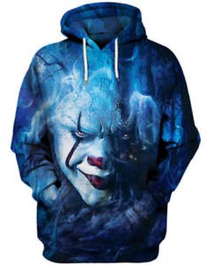 Clown 3D Print Hoodie Stephen King It 2017 Pennywise Horror Movie Size S 6XL
