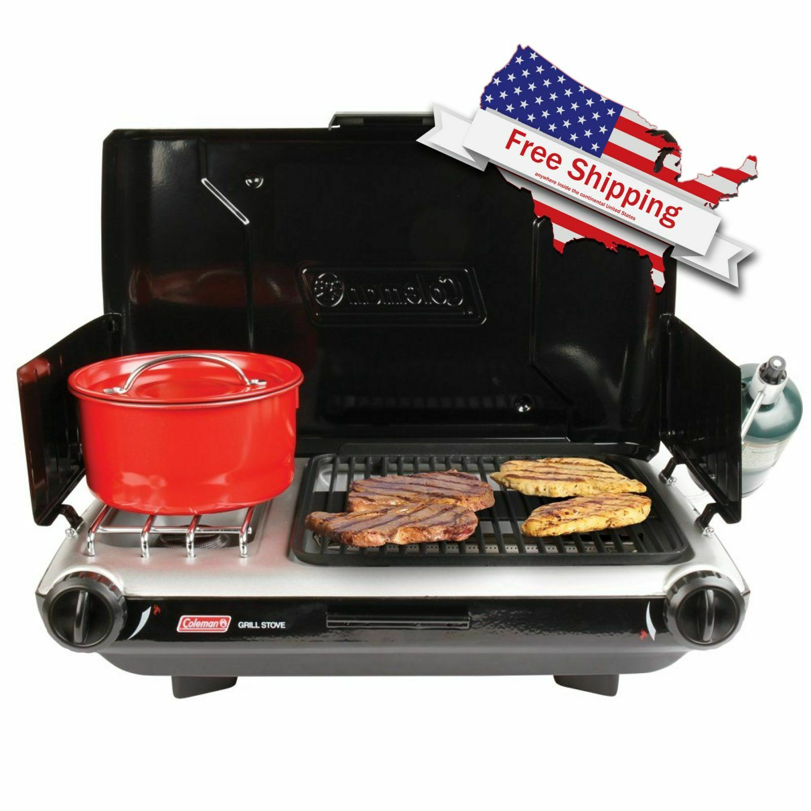 Coleman 20,000 BTU propane 2 Burner Camping Grill  Stove Match Light outdoors