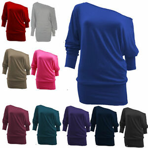 a1bc68e079d3 WOMENS LADIES BATWING PLUS SIZE BAGGY TOP JUMPER JERSEY LONG SLEEVE ...