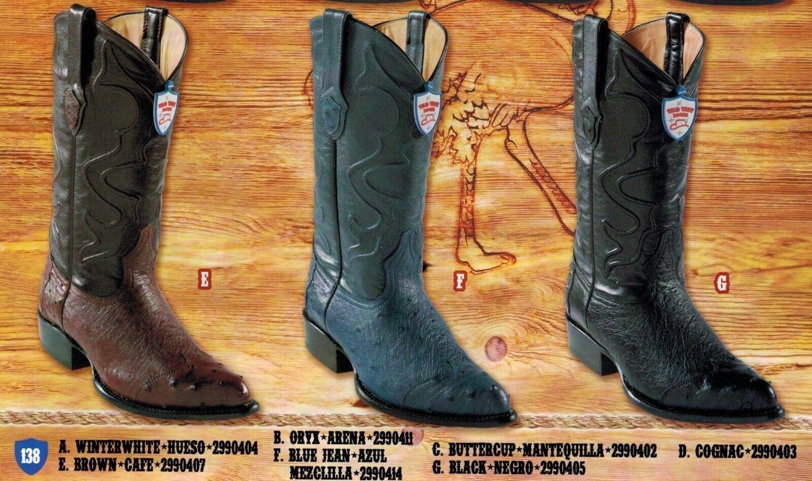 Wild West Homme J-bout lisse autruche aile Cowboy Western bottes diff. couleurs
