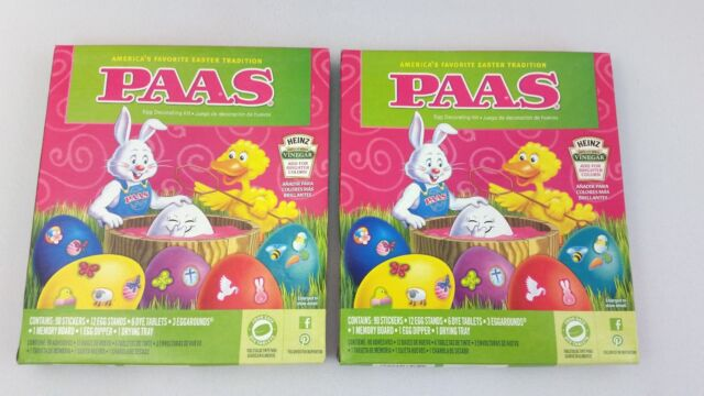 NEW Lot of 2 Paas Easter Egg Decorating Color Dye Kits with 90 Stickers!