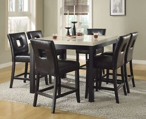 Image Is Loading Faux Marble Counter Height Dining Table Black Chairs