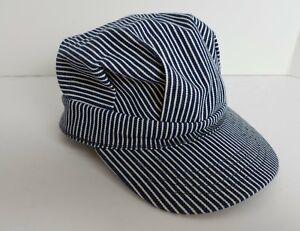 Blue White Stripe Cap Hat Railroad Train Conductor Style Snapback ... 30df6e3b9ee