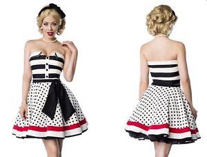 Belsira Kleid Schulterfrei Vintage Schwarz Rockabilly Pinup Streifen Punkte Weiss Ebay
