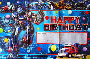 TRANSFORMERS OPTIMUS PRIME HAPPY BIRTHDAY POSTERBANNER PARTY
