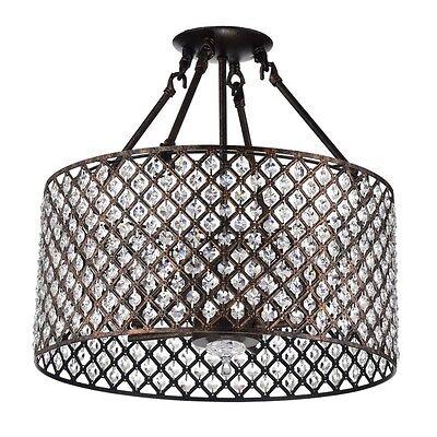 4 Light Antique Copper Round Drum Semi Flush Mount Crystal Chandelier Ebay