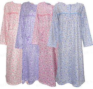 Image is loading Womens-Floral-Nightdress-Pjs-Night-Wear-Shirt-Nighty- eb8ebae6a4