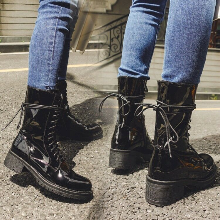 Women Patent Patent Patent Leather Combat Ankle Boots Chunky Low Flat Heel Lace up Retro shoes 336e89