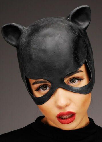 Womens Black Latex Catwoman Mask with Ears