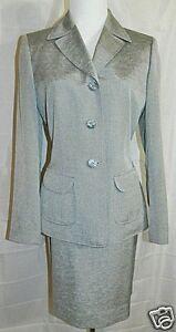 Evan-Picone-Suit-Two-Piece-Blazer-Jacket-Skirt-Silver-Gray-size-6