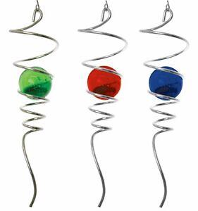 3d Windspiel 28 Cm In 3 Farben Mit Glaskugel Kugelspirale Stahl Feng
