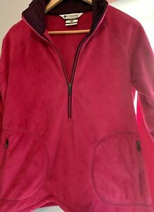 Columbia Fuzzy Pull Over Jacket half zip Pink Polar Fleece Women's size XL
