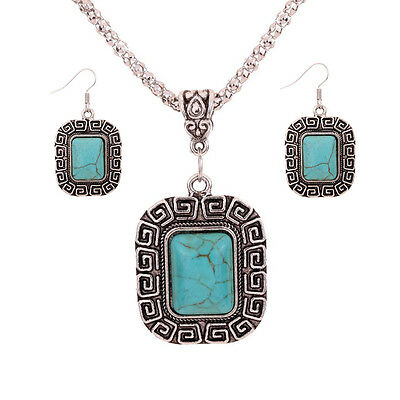 New Design Jewelry Turquoise Inlay Carved Pandent Necklace Dangle Earrings Set