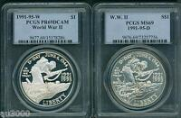 1991-1995 W & D WORLD WAR 2 WW-II PCGS MS69 PR69 COMMEMORATIVE SILVER 2-coin SET
