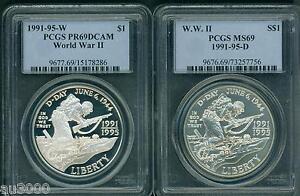 1991-1995-W-D-WORLD-WAR-2-WW-II-PCGS-MS69-PR69-COMMEMORATIVE-SILVER-2-coin-SET