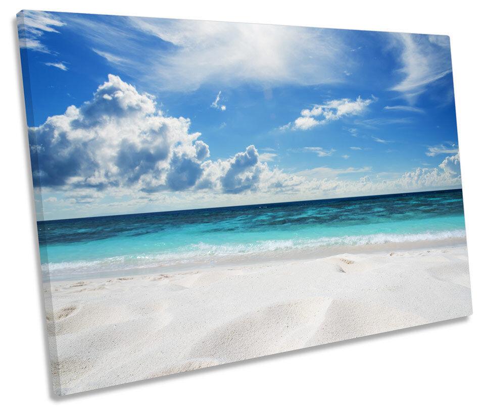 Blau Beach Seascape CANVAS WALL ART Picture Print Single