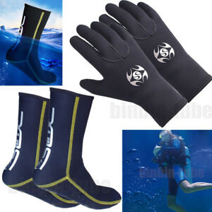 Swim-Swimming-3MM-Neoprene-Wetsuit-Gloves-Booties-Diving-Snorkeling-Cold-proof