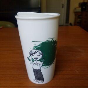 Details About Starbucks 2015 Anime Boy Finger Painting Dot Ceramic Travel Tumbler Cup Mug 12oz