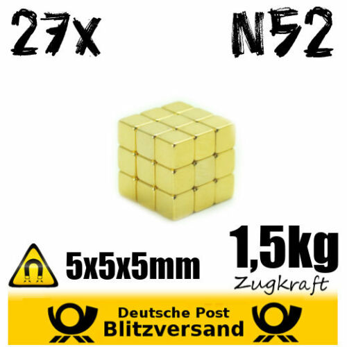 Wall Stickers Wall Craft Note Pad 27X Neodymium Magnet 5X5X5MM Gold Plated