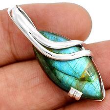 Spectrolite Labradorite From Finland 925 Silver Pendant  Jewelry PP38054