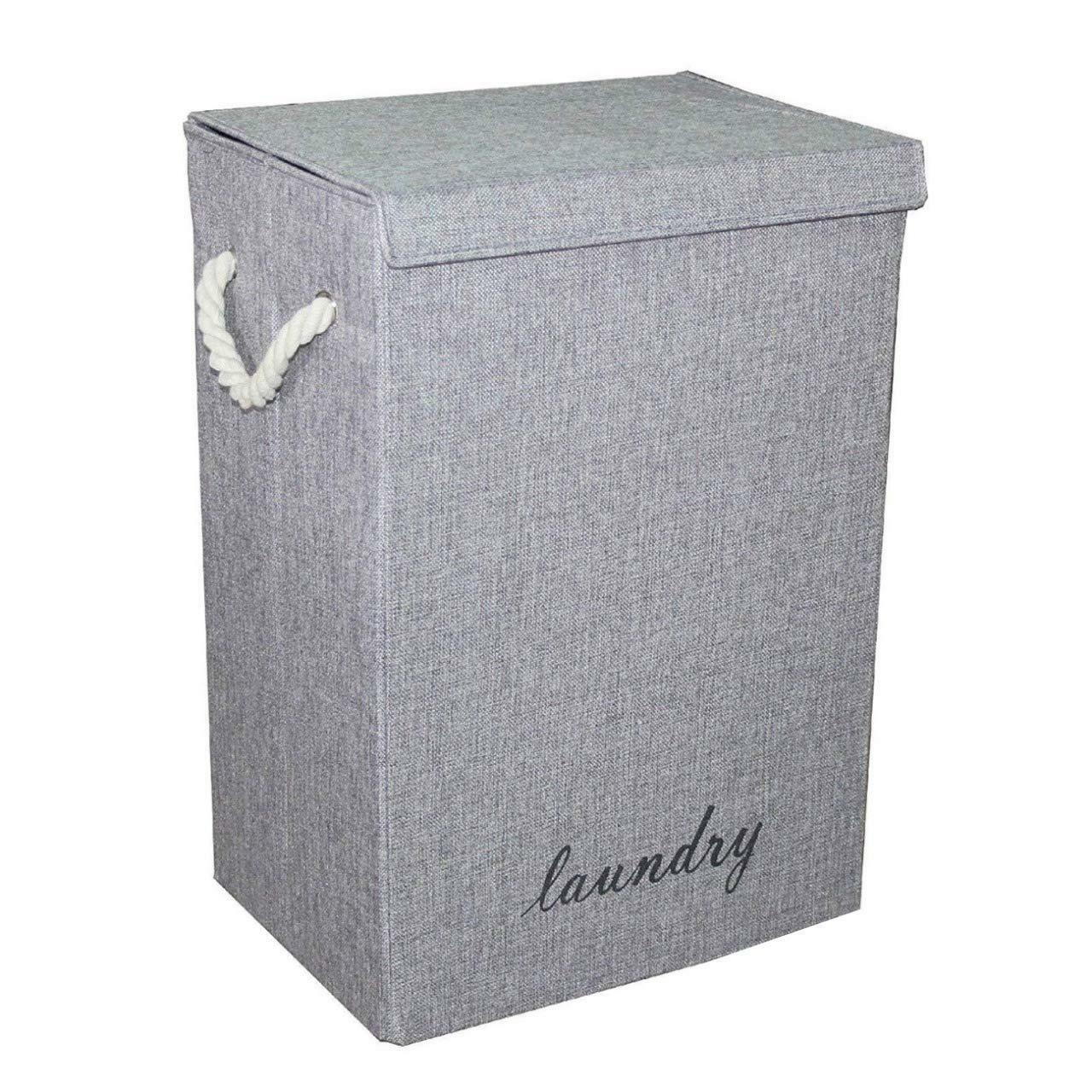 New Grey Hamper Fabric Laundry Basket With Lid Ideal for Kids Toys Storage
