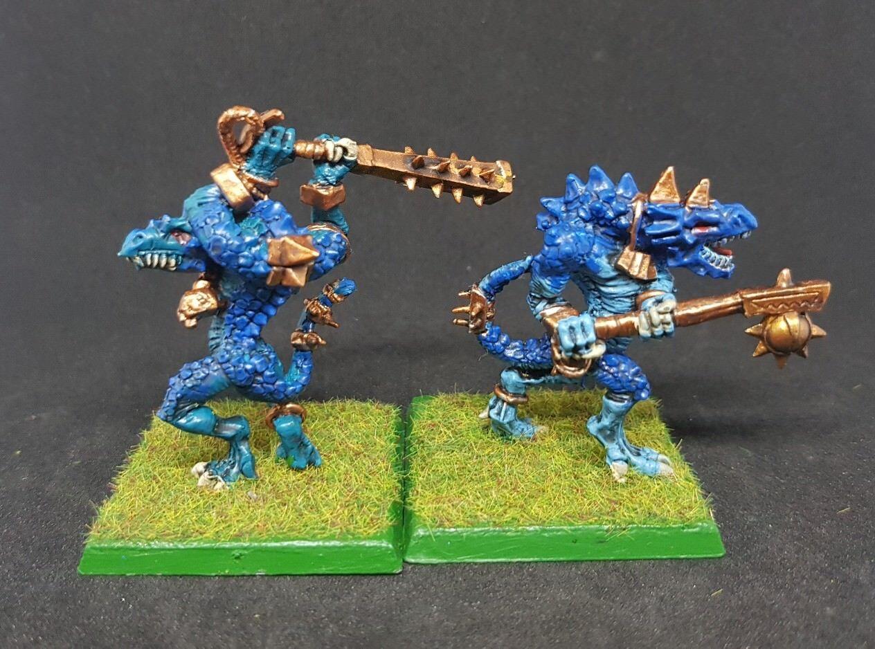 LIZARDUomo Kroxigor x 2 well painted metal models Warhammer OOP  B