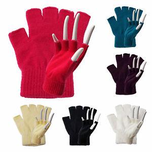 Handschuhe-fingerlos-Fingerhandschuh-Acryl-6-Farben-Strickhandschuh-Winterware