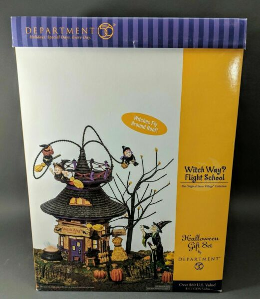e7c4197fe4d Dept 56 SV Halloween Witch Way? Flight School 55347 Animated Retired  Village for sale online   eBay