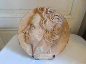 Medaglione Calco Patinato Casimir Delavigne David Angers (1788 -1856)