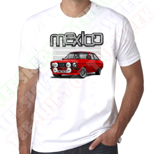 Personalised Plate Option Mk2 Ford Escort Mexico White T-shirt Pick Colour